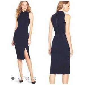 WHBM Black Midi Mock Neck Sleeveless Dress 2